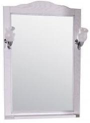 ASB-Woodline Зеркало для ванной Римини Nuovo 60 белый (патина серебро), массив ясеня