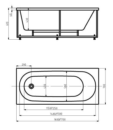 Aquatek Акриловая ванна Оберон 160x70 с гидромассажем - фотография