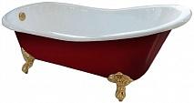 "Фэма Чугунная ванна ""Gracia Red"", ножки золото, красный глянец"