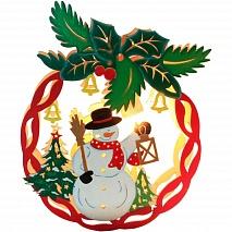 Feron Деревянная световая фигура Новогодний шар со снеговиком LT068