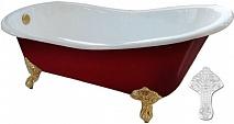 """Фэма Чугунная ванна """"Gracia Red"""", ножки белые, красный глянец"""