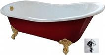 """Фэма Чугунная ванна """"Gracia Red"""", ножки хром, красный глянец"""