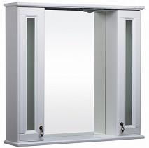 Bas Зеркало-шкаф для ванной Варна 105 белый, вставки стекло
