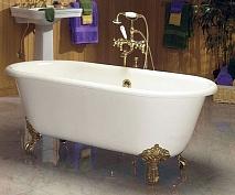 "Фэма Чугунная ванна ""Patricia"", ножки золото, покрытие RAL, металлик"